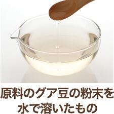 原料のグア豆の粉末を水で溶いたもの